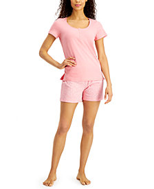 Charter Club Henley & Shorts Cotton Pajama Set, Created for Macy's
