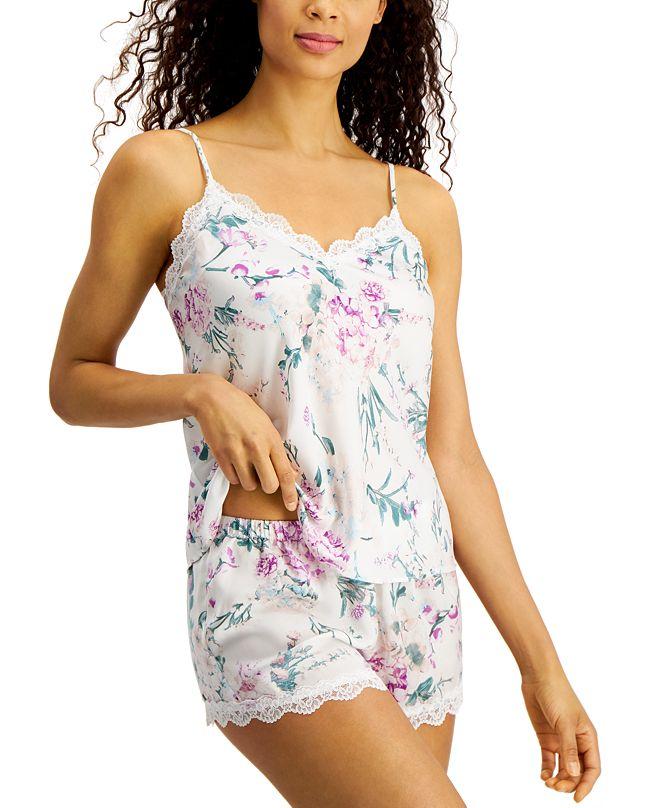 Flora by Flora Nikrooz Maria Lace-Trim Cami & Shorts Pajama Set
