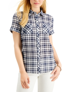 1950s Tops and Blouse Styles Tommy Hilfiger Heathered Plaid Camp Shirt $37.12 AT vintagedancer.com