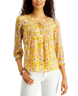 Tommy Hilfiger PINTUCK FLORAL-PRINT BLOUSE