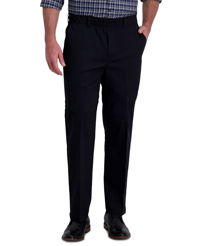 Haggar - Men's Premium Classic-Fit Wrinkle-Free Stretch Elastic Waistband Dress Pants