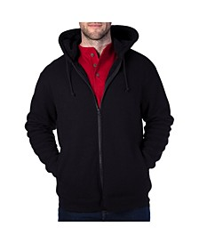 Men's Thermal Knit Henley Hooded Jacket