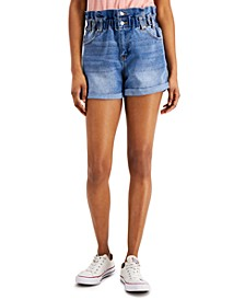 YNQ Denim Cuffed Ripped Shorts