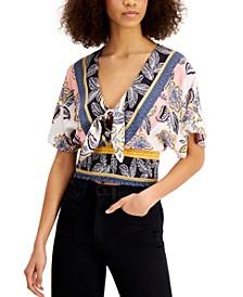Juniors' Printed Tie-Front Crop Top