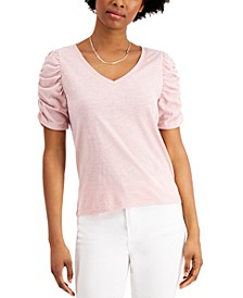 Juniors' Ruched-Sleeve T-Shirt