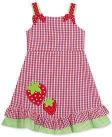 Little Girls Seersucker Strawberry Ruffle Dress