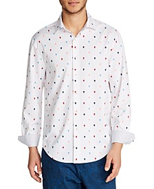 Tallia Men's Slim-Fit Performance Stretch Skull Print Long Sleeve Shirt and a Free Face Mask With Purchase