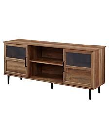 """58"""" Glass and Wood Split Panel Door TV Console"""