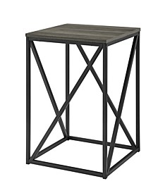"16"" Modern Geometric Square Side Table"