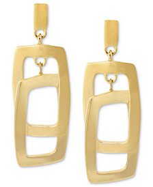 Kenneth Cole New York Earrings, Gold-Tone Rectangle Link Drop Earrings