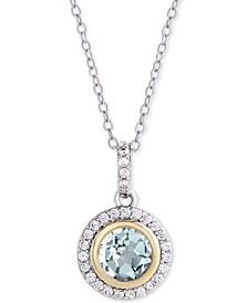 "Blue Topaz (1-1/2 ct. t.w.) & Cubic Zirconia Halo 18"" Pendant Necklace in Sterling Silver & 18k Gold-Plate"