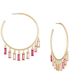 Gold-Tone Pink Baguette Shaky Large Hoop Earrings, 3""