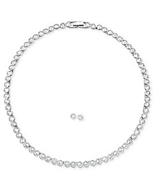 """Swarovski Jewelry Set, Rhodium-Plated Crystal Stud Earrings and 15"""" Collar Necklace"""