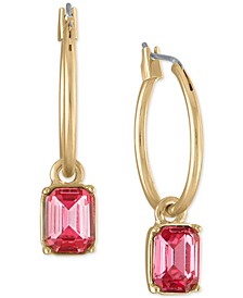 Gold-Tone Pink Stone Drop Hoop Earrings