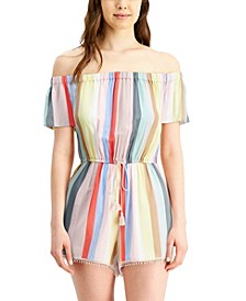 Juniors' Striped Off-The-Shoulder Romper