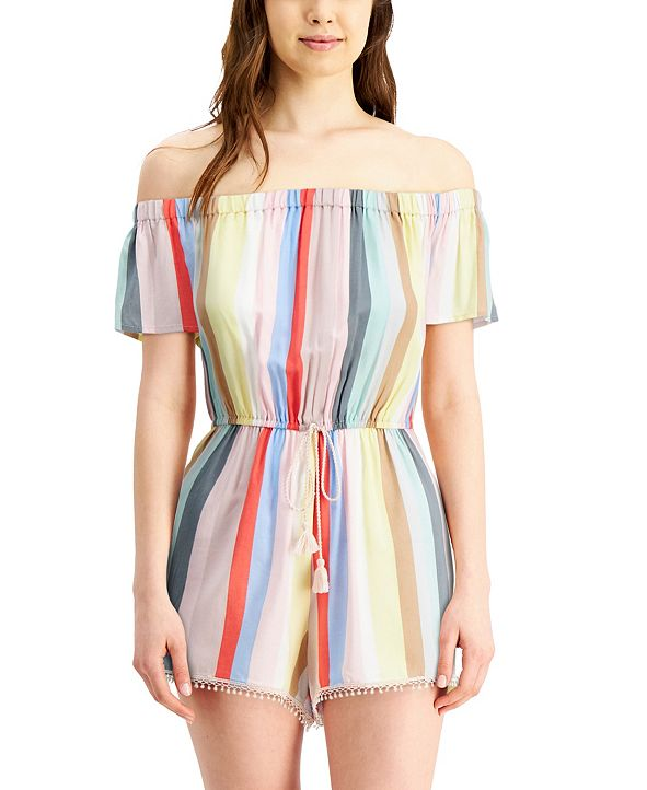 FISHBOWL Juniors' Striped Off-The-Shoulder Romper