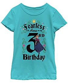 Big Girls Frozen Anna Birthday 3 Short Sleeve T-shirt