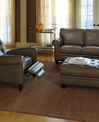 Martha Stewart Bradyn Leather Sofa Living Room Furniture