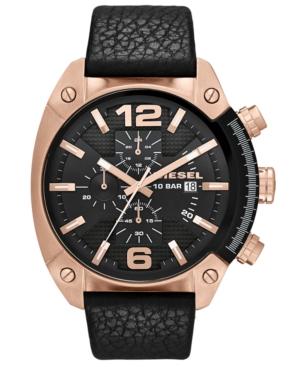 Diesel Watch, Men's Chronograph Black Textured Leather Strap 49mm DZ4297