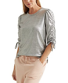 Metallic Ruched Cotton-Blend Top