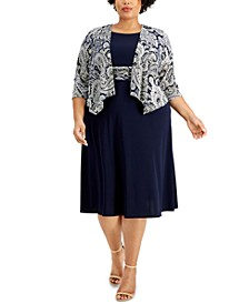 Plus Size Draped Jacket & Fit & Flare Dress