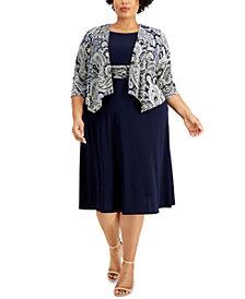Jessica Howard Plus Size Draped Jacket & Fit & Flare Dress