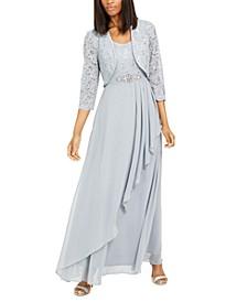 Embellished Jacket & Ruffled Gown