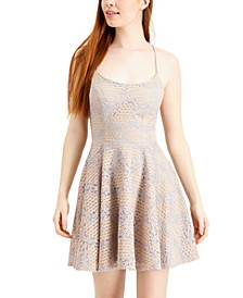 Juniors' Lace Lace-up Skater Dress