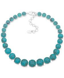 "Silver-Tone Stone Collar Necklace, 16"" + 3"" extender"