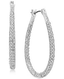 Pavé Tear-Shape Hoop Earrings