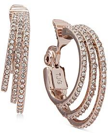 Pavé Triple-Row Clip-On Hoop Earrings
