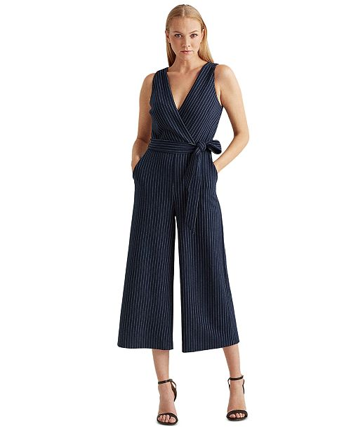 Lauren Ralph Lauren  Pinstripe Wide-Leg Jumpsuit