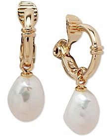 Gold-Tone Hoop & Imitation Pearl Clip-On Drop Earrings