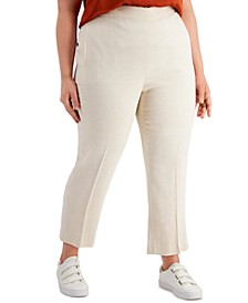 Plus Size High-Waist Linen Pull-On Pants, Created for Macy's
