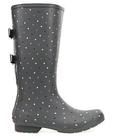 Women's Wide-Calf Tonal Dot Tall Rain boot