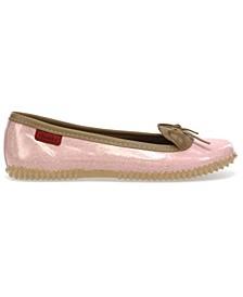 Women's Glitter Ballet Flat Water- resistant Skimmer Shoe