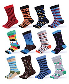 Men's Funky Colorful Dress Socks Pack of 12