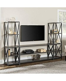 "3-Piece Storage Wall with 60"" X-Console"