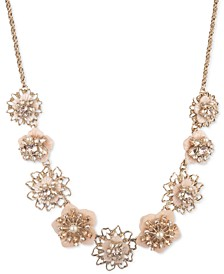 """Gold-Tone Crystal & Imitation Pearl Flower Statement Necklace, 16"""" + 3"""" extender"""