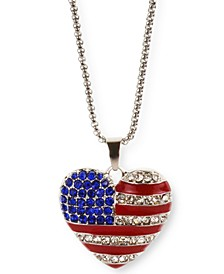"""Silver-Tone Pavé Red, White & Blue Heart 36"""" Pendant Necklace, Created for Macy's"""
