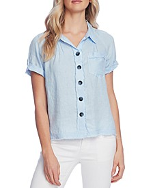 Linen Button-Front Shirt