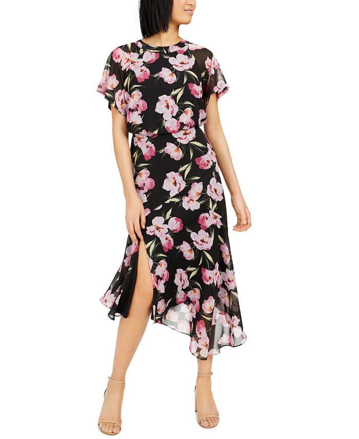 INC International Concepts - Floral Asymmetrical-Hem A-Line Dress