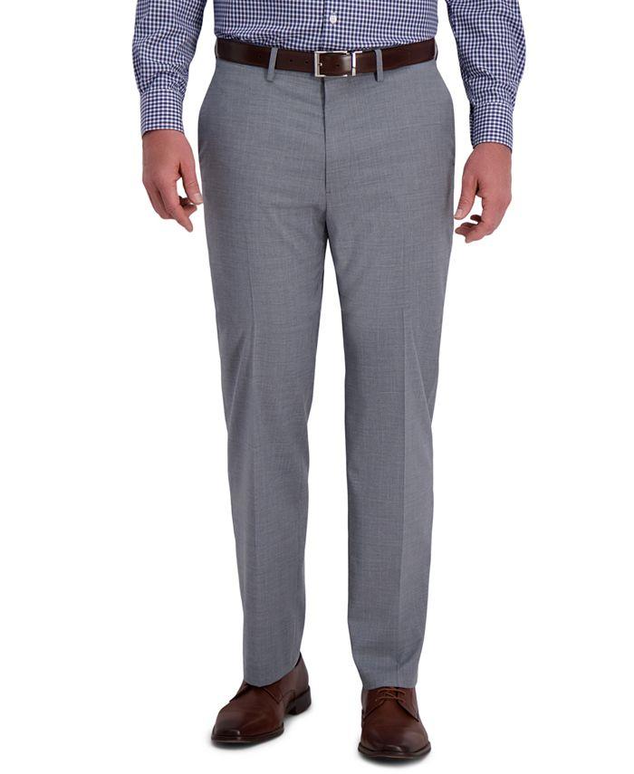 Haggar - Men's Classic-Fit 4-Way Stretch Textured Plaid Performance Dress Pants