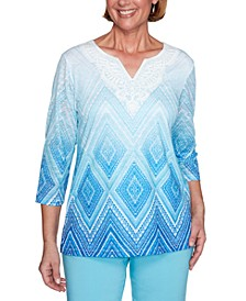 Sea You There Printed Lace Ombre Knit Top