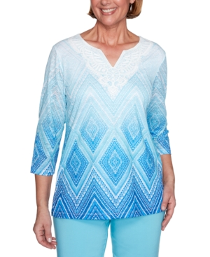 Women's Missy Sea You There Diamond Lace Ombre Top