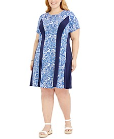 Plus Size Spliced A-Line Dress