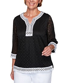 Checkmate Textured Lace Grommet-Trimmed Top