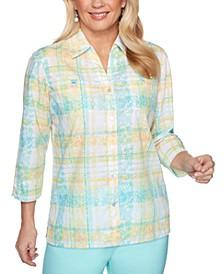 Spring Lake Mixed-Print Chest-Pocket Shirt