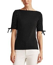 Polka-Dot Cotton-Blend Top
