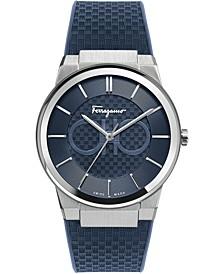 Men's Swiss Sapphire Blue Caoutchouc Rubber Strap Watch 43mm